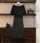 特賣款不退換T恤半身裙套裝中大尺碼L-4XL/33640胖mm時尚套裝寬松200斤波點氣質減齡兩件套1號公館