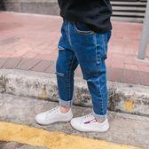 男童牛仔褲2018春夏款新款兒童1-3歲韓版童裝寶寶破洞小腳褲子潮【潮咖地帶】