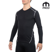 MICO 男圓領美麗諾羊毛保暖上衣3700 (M-XL) /城市綠洲(義大利、排汗快乾、舒適透氣、戶外機能)
