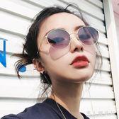 墨鏡 新款復古圓太陽鏡女漸變色韓版小臉帶鏈子眼鏡防紫外線潮 DR3078【男人與流行】
