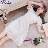 洋裝 露比設計‧層次蕾絲領結短袖洋裝-Ruby s 露比午茶