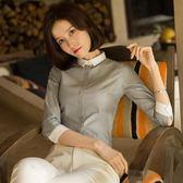 優柏七分袖襯衫女百搭夏新款韓版撞色中袖襯衣職業修身正裝棉