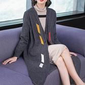 (交換禮物)秋冬季加厚中長款 毛針織衫開衫女 毛衣外套寬鬆顯瘦