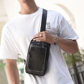 男士背包潮流側背斜背包新款韓版運動休閒皮質胸包商務 黛尼時尚精品