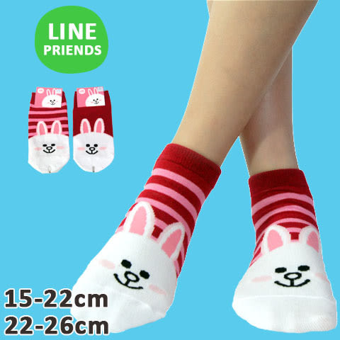 直版襪 LINE 兔兔直版襪 台灣製 LINE 直版襪/ 短襪