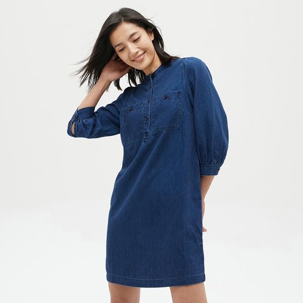Gap女裝 簡約燈籠袖圓領牛仔洋裝 631185-深藍色
