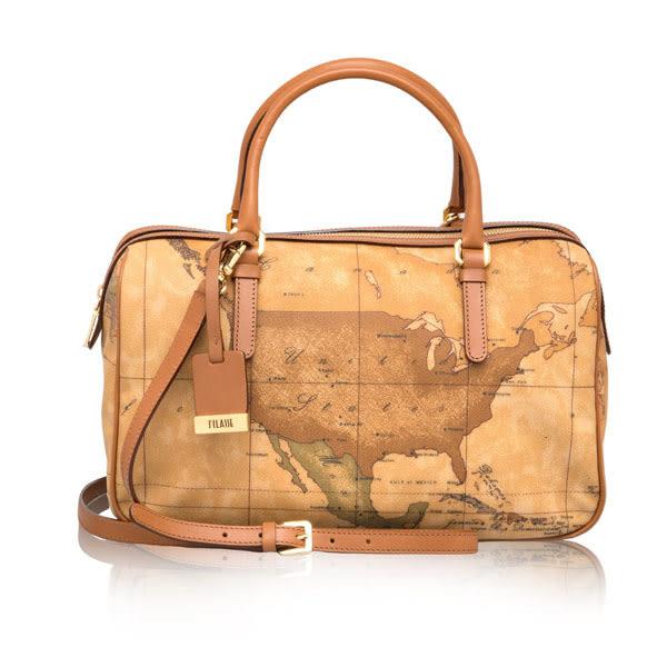 Alviero Martini 義大利地圖包-波士頓拉鍊手提側背包(大)-地圖黃