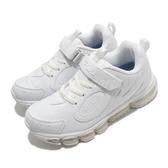 Fila 休閒鞋 J814U 白 全白 女鞋 大童鞋 復古慢跑鞋 運動鞋 魔鬼氈 【PUMP306】 3J814U111