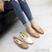 春季新款韓復古方頭淺口舒適百搭軟皮平底單鞋女鞋 雙十二特惠