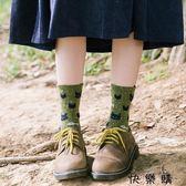 襪子女士純棉秋冬打底可愛貓咪短襪粗線