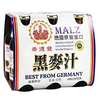 崇德發 天然黑麥汁 玻璃瓶 330ml (6入)/組【康鄰超市】