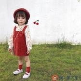 女童燈芯絨背帶裙兒童寶寶春秋韓版裙子背心裙連身裙【淘夢屋】
