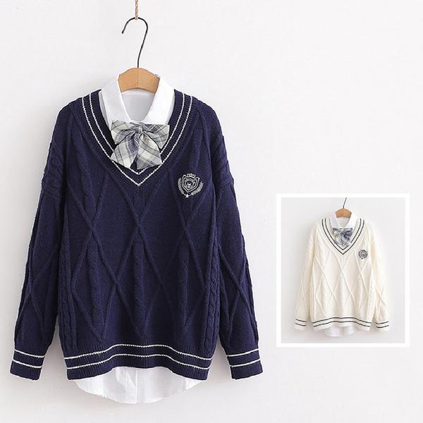 *ORead*韓版小清新針織衫毛衣馬甲+蝴蝶結長袖襯衫兩件套(2色F碼)