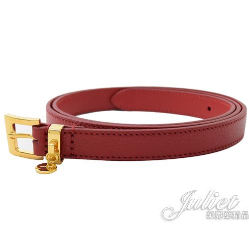 茱麗葉精品【全新現貨】 MIU MIU 5CC366 經典小牛皮細版金飾扣皮帶.紅