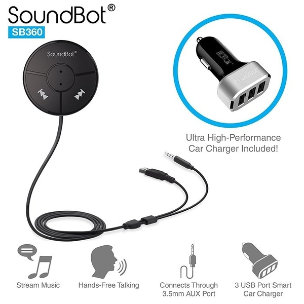 beats 美國聲霸SoundBot SB360 車用藍芽音樂接收器 4.0藍牙傳輸器 藍芽喇叭 sony