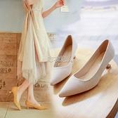 3-5CM淺口單鞋高跟鞋春季韓版尖頭細低跟百搭貓跟鞋女絨面工作鞋 快速出貨