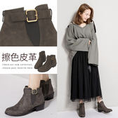 Ann'S帥氣搭配-古銅C釦擦色素面側邊鬆緊短靴-灰