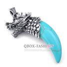 《 QBOX 》FASHION 飾品【W10025017】精緻個性龍頭牛角月牙石鑄造316L鈦鋼墬子項鍊
