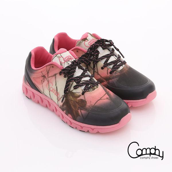 Comphy 超輕漫步 漸層圖騰印刷布料綁帶運動鞋 粉紅