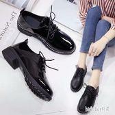 小皮鞋黑色工作小皮鞋女粗跟百搭學生原宿韓版舒適英倫秋鞋女 QG15129『Bad boy時尚』