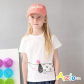 童裝 上衣 圓圈臘腸狗印花開衩短袖上衣(白) Azio Kids 美國派 童裝