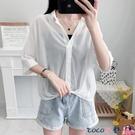 熱賣飛鼠袖上衣 白色雪紡襯衫女夏裝2021新款設計感小眾洋氣短袖上衣V領氣質小衫【618 狂歡】