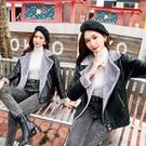 皮毛一體韓版外套女裝秋冬短款機車夾克皮衣加絨韓版寬鬆大衣YQ387