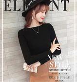 長袖毛衣女秋冬裝新款打底衫一字領短款上衣修身針織衫套頭內搭衣 EY5032 『M&G大尺碼』