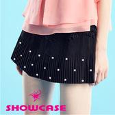 【SHOWCASE】百搭細壓褶手縫珍珠短裙/百褶裙(黑)