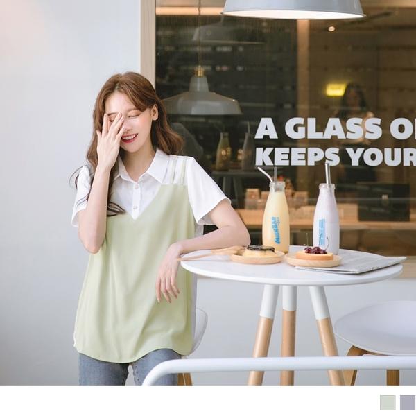 《AB10683》假兩件排釦襯衫領拼接純色造型背心短袖上衣 OrangeBear