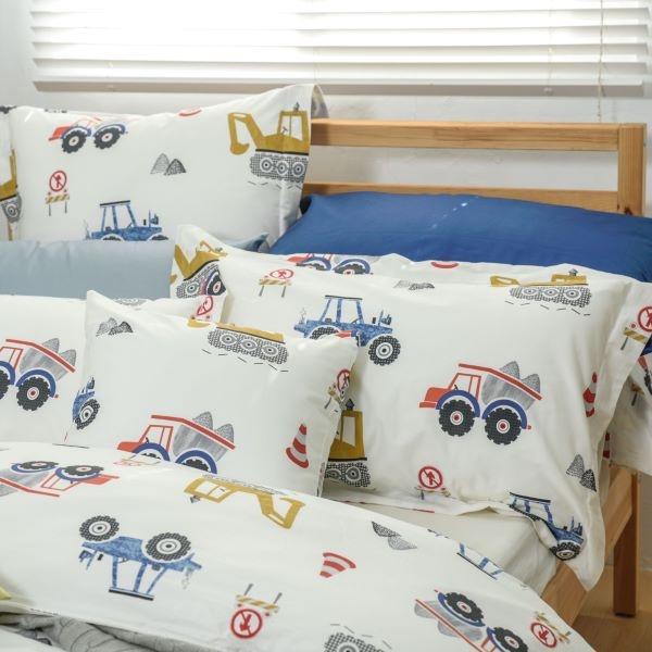 【金‧安德森】精梳棉《工程車》兩用被床包四件組 (加大床包)