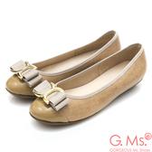 G.Ms. MIT系列-牛皮拼接圓頭蝴蝶結娃娃鞋*杏色