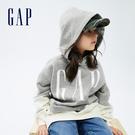 Gap女童 Logo撞色碳素軟磨刷毛連帽休閒上衣 740341-灰色
