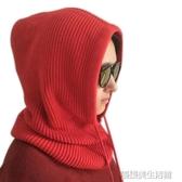 多功能針織羊絨帽子脖套一體女冬連帽護耳套頭保暖加厚圍脖