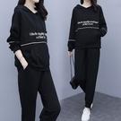 【A5230】簡約線條連帽上衣+休閒褲 套裝 L-4XL