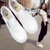 2018春季新款小白帆布鞋女鞋一腳蹬懶人布鞋韓版平底百搭學生白鞋