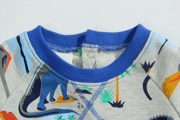 男Baby男童長袖T恤藍色恐龍印花套頭有背釦純棉上衣現貨 歐美品質