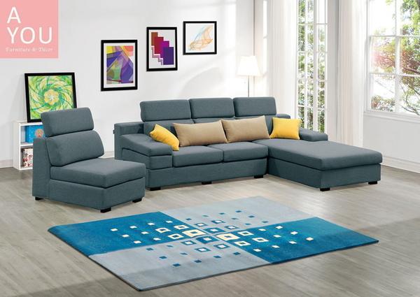 伊麻L型藍色布沙發(右向.全組)(大台北地區免運費)【阿玉的家2020】