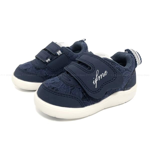 《7+1童鞋》日本 IFME 甜美蕾絲 寶寶機能 學步鞋 D492 藍色