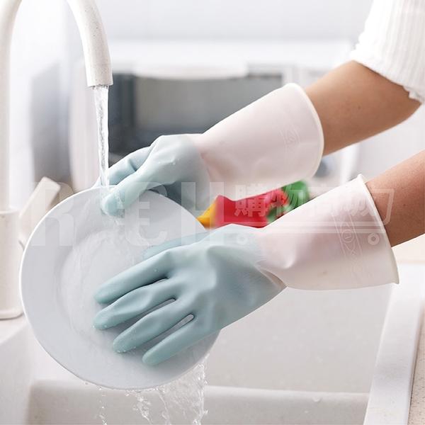 家用洗碗手套女洗衣服神器防水橡膠手套薄款家務刷碗乳膠手套