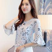 碎花短袖雪紡衫女裝寬鬆上衣2018夏季新款半袖韓版小清新甜美小衫