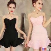 魚尾荷葉邊彈性褶皺緊身包臀抹胸裹胸連身裙短裙打底休閒韓國夏季