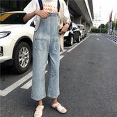 (全館一件免運)DE SHOP~(A-7242)牛仔背帶褲百搭牛仔吊帶長褲