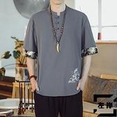 亞麻短袖T恤男中國風棉麻上衣刺繡半袖胖子大碼男裝【左岸男裝】