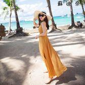 洋裝 沙灘裙波西米亞長裙仙雪紡連身裙-蘇迪奈