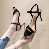 細跟涼鞋黑色涼鞋女新款夏天床上8cm高跟鞋一字帶細跟法式少女小跟【限時八折下殺】