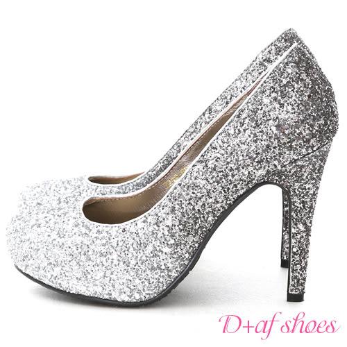 婚鞋 D+AF 璀璨奇蹟.漸層閃料亮片水台高跟鞋*銀灰