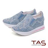 TAS 閃耀水鑽厚底休閒鞋-牛仔藍
