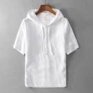 日系清新棉麻短袖衛衣男士休閑連帽白色簡約寬松棉麻套頭半袖 快速出貨