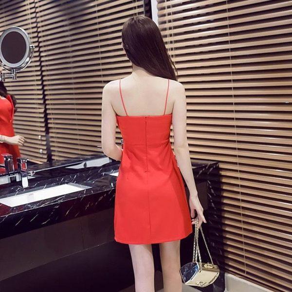 洋裝 小禮服 性感 一字肩 抹胸 吊帶 氣質 收腰 漏背 連衣裙 快速出貨